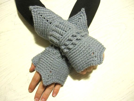 Crochet medieval armor mittens fingerless gloves by CraftyBeeYard