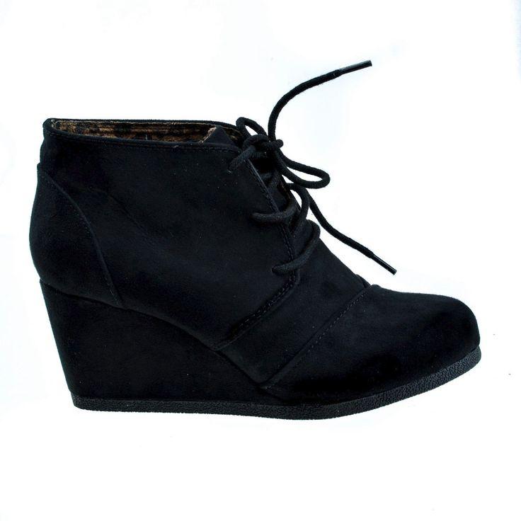 Rex BlackIMSU lace up oxford ankle bootie round toe high hidden wedge heel womens shoe