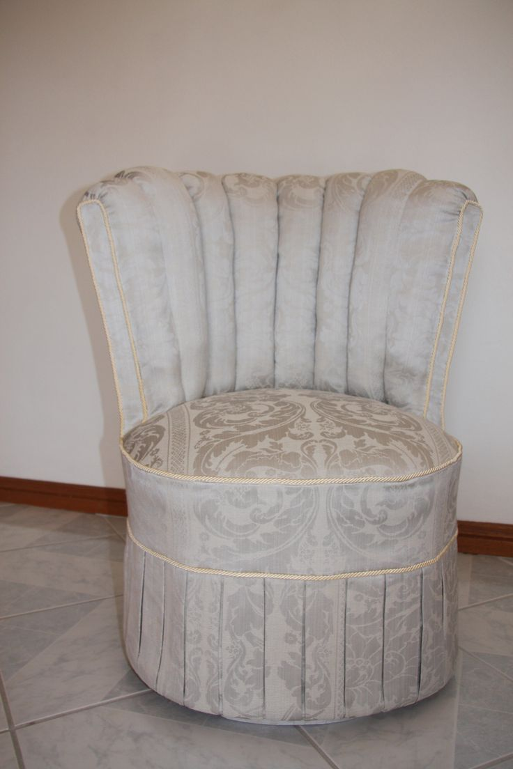 A classic 1950's Dresser/Nursing chair restored in a subtle misty mint damask - Upholstered by SMAD
