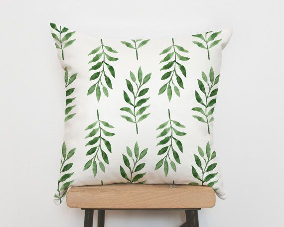 Tropical green palm pillow cover pillowcase by Emodi on Etsy