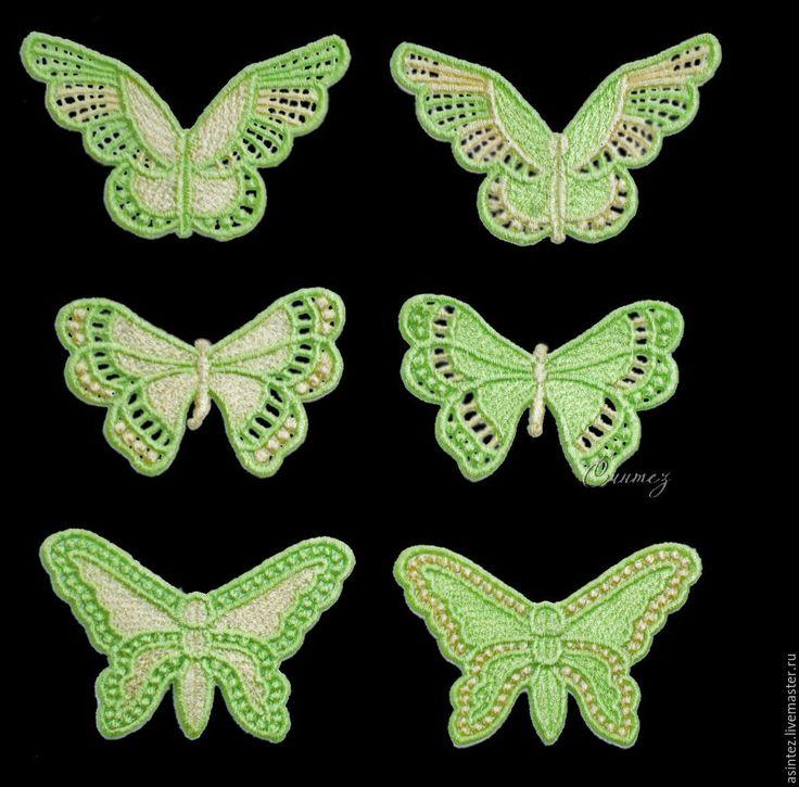 Купить Набор вышитых аппликаций Бабочка 6 шт. - аппликация вышивка, вышитая бабочка