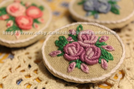 Hand Embroidered Brooch Bullion  Roses  Brooch Pin