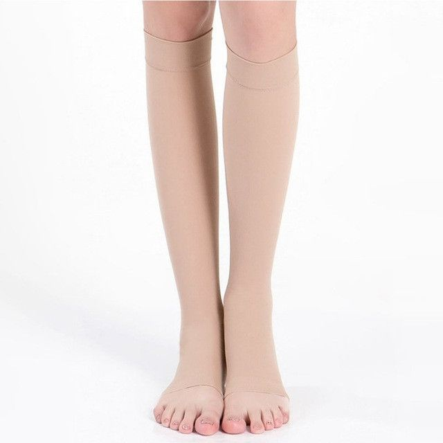 18-21mm Hg COMPRESSION KNEE HIGH Open Toe Stockings Men Women Support Stockings