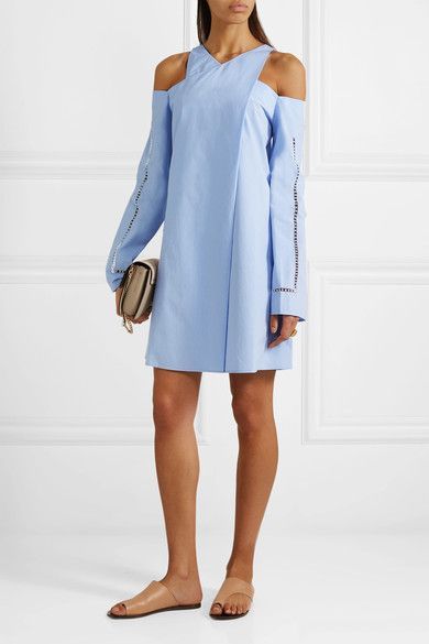 Zeus+Dione | Anemone cold-shoulder wrap-effect cotton-poplin mini dress | NET-A-PORTER.COM