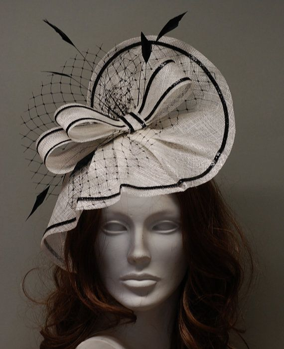 Fascinator Hat White and Black for Ascot, Derby, Wedding on Etsy, $121.55 AUD