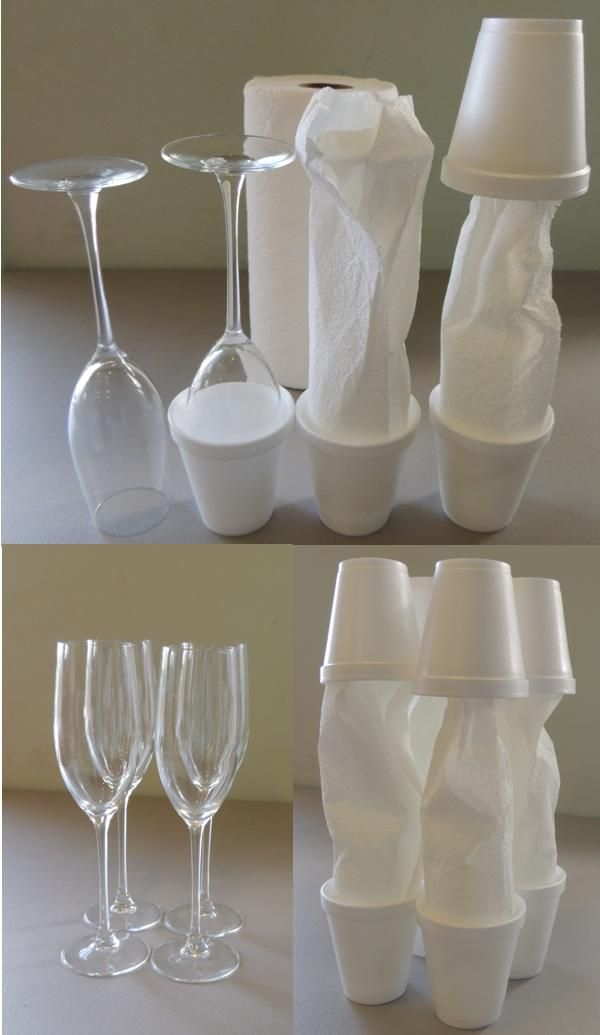wrap crystal in paper towels and place in styrofoam cups