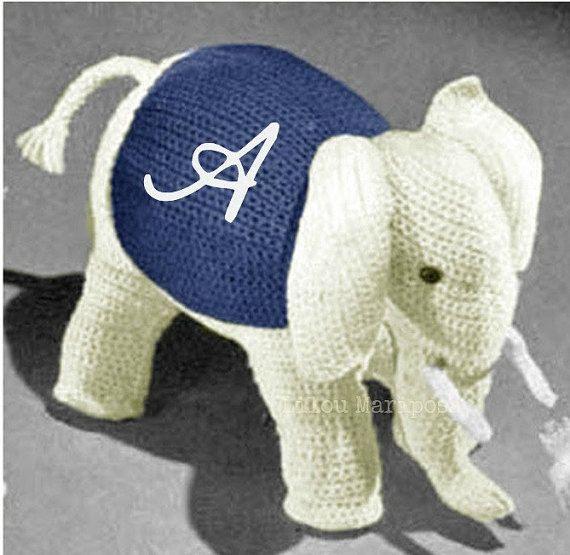 Crochet TOY Pattern Vintage 70s Crochet Elephant by Liloumariposa