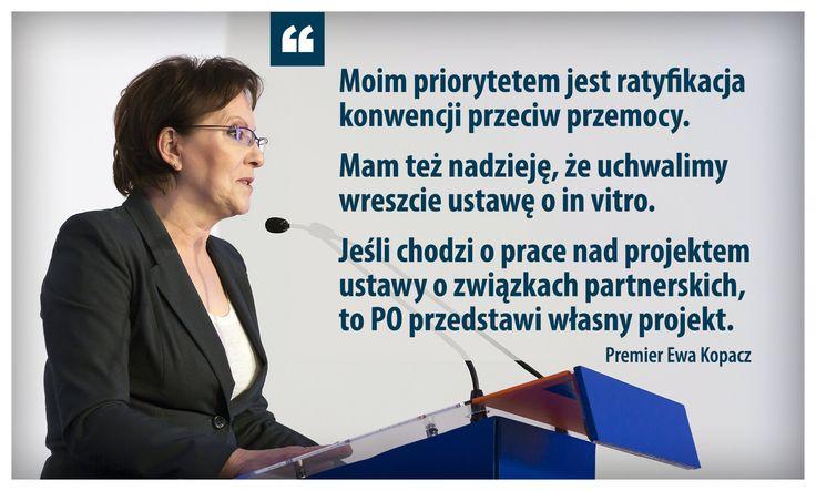 3 ważne sprawy, które chce zrealizować premier Ewa Kopacz.  Cała rozmowa dostępna w najnowszym numerze tygodnika Polityka oraz online (dostęp płatny) pod tym adresem: http://www.polityka.pl/tygodnikpolityka/kraj/1605411,1,premier-ewa-kopacz-o-swoich-reformach-i-pomyslach-na-rzadzenie.read