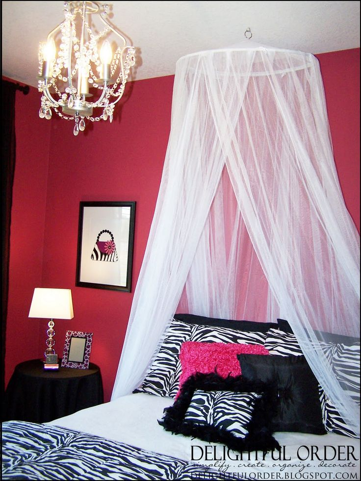 pink zebra room ideas for teens | The bed canopy came from Bed, Bath and Beyond. The zebra bedding and ...