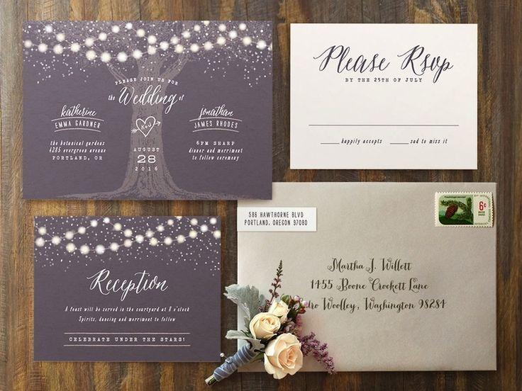 Garden Lights Wedding #Invitations | romantic and #rustic invite for an illuminated outdoor evening #wedding