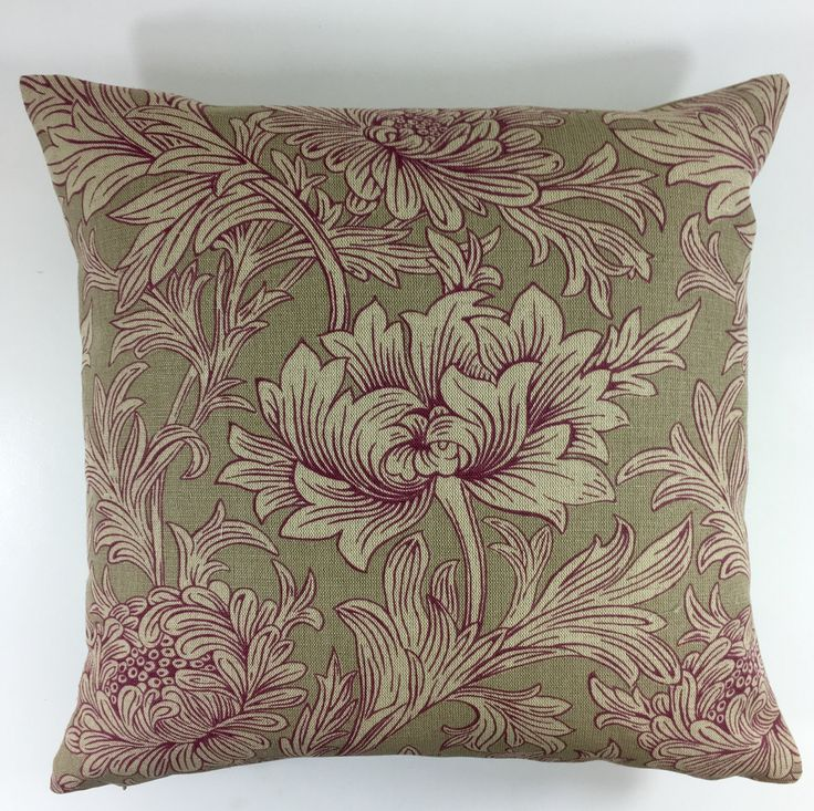 William Morris Chrysanthemum Wine/Linen Cushion Covers Many Sizes Available by MayEvelyneInteriors on Etsy