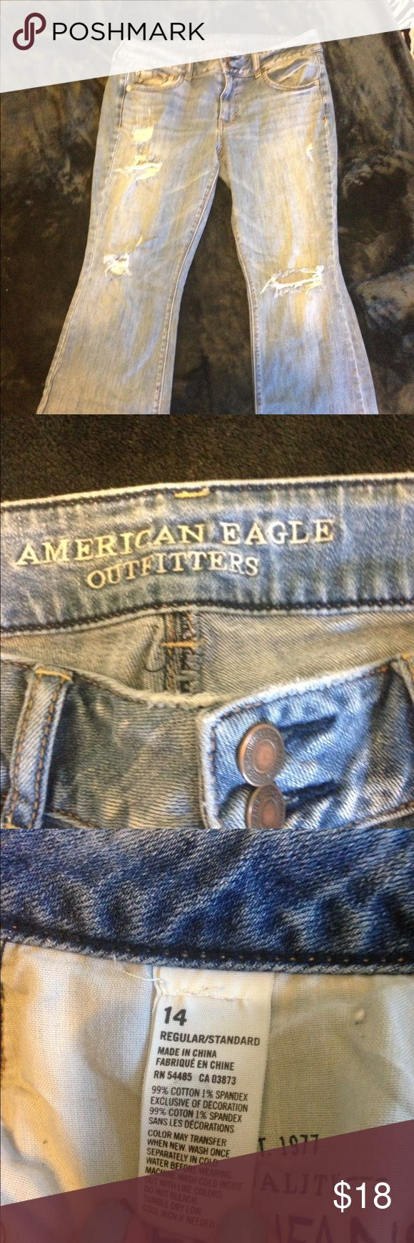 American Eagle Outfitters distressed Artist jeans Discounted shipping for one hour!!!  AEO size 14 distressed artist jeans. Broken in. Awesome. They just don't fit and it is time to let them go. Regular length. Flared leg. American Eagle Outfitters Jeans Flare & Wide Leg