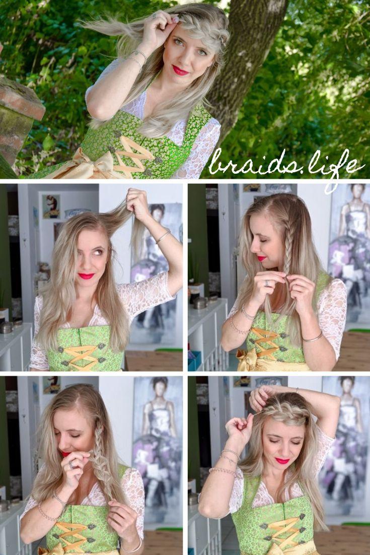 Einfache Frisuren Anleitung: Oktoberfestfrisur für offene Haare – Frisuren – LIEBLINGE • braids.life