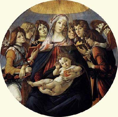 La Vierge à la grenade est l'œuvre de Botticelli, un tondo de 1487 environ, conservé à la Galerie des Offices à Florence. Modèle de la Vierge: Simonetta Vespucci.