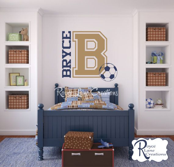 Soccer Wall Decal Varsity Letter Decal with by RoyceLaneCreations