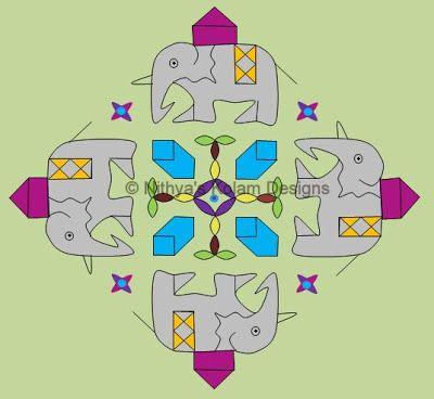 Nithya's Kolam Designs: Kolam 84: Elephant Kolam for Ganesh Chaturthi