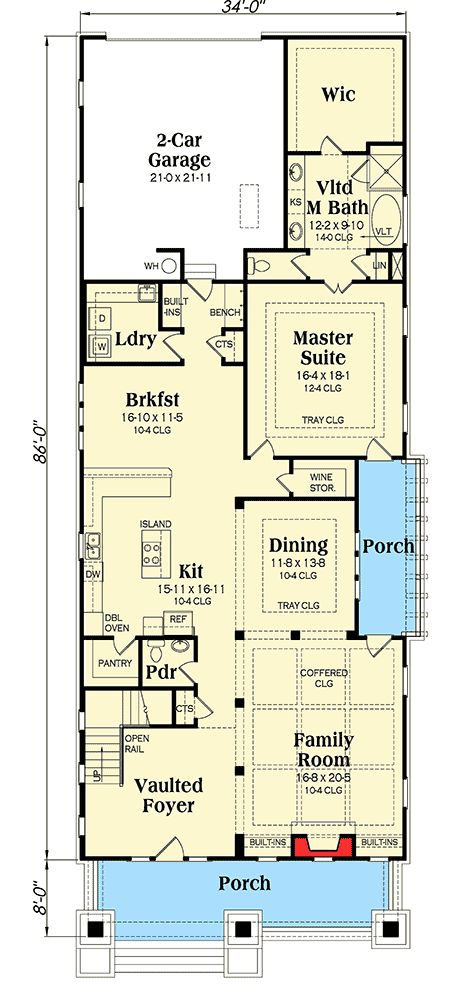 17 best ideas about bungalow house plans on pinterest for Bungalow house plans for narrow lots