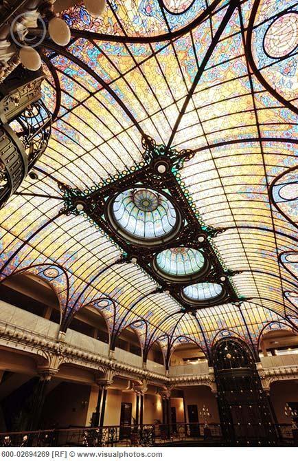 1908 Tiffany Stained-Glass Ceiling in el Gran Hotel Ciudad de Mexico, Mexico City, Mexico