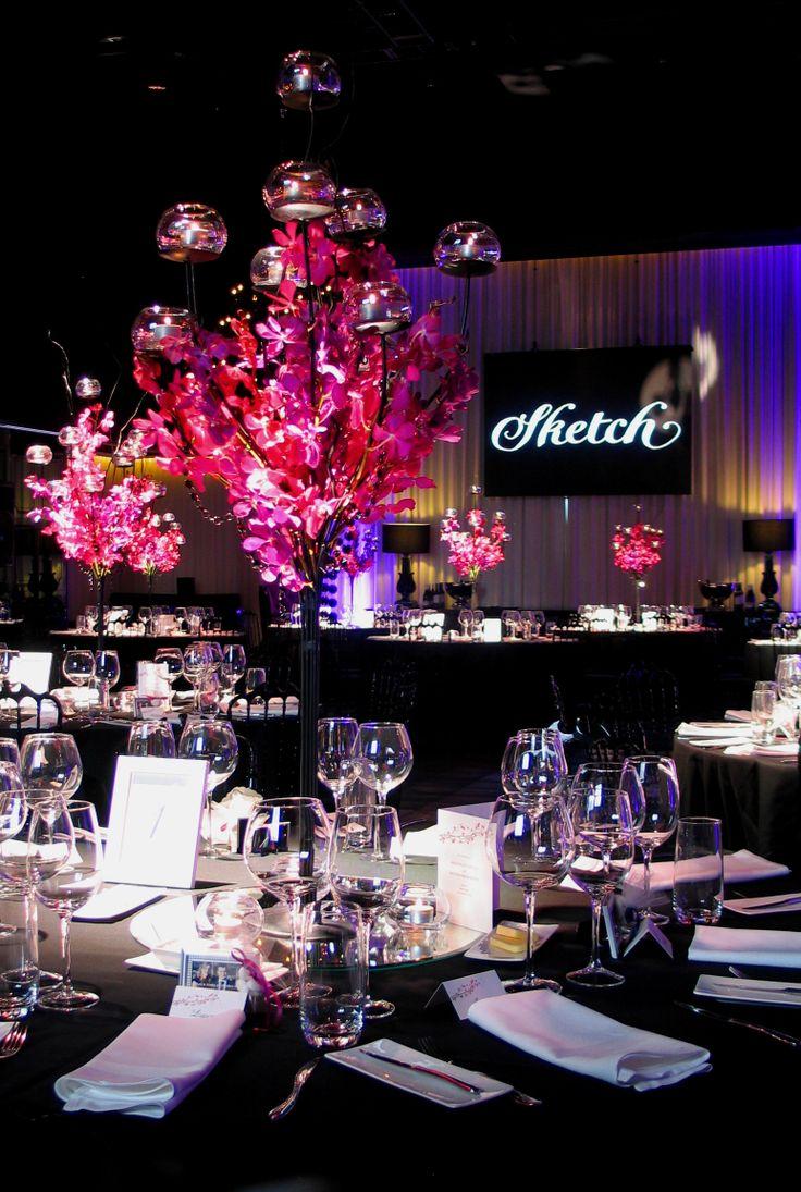 wedding d cor black candelabra table centres with pink orchids for sketch at atlantic group v. Black Bedroom Furniture Sets. Home Design Ideas