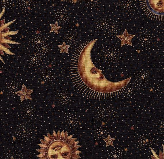 vintage 90 s cotton w star sun moon design by ourvintageprints