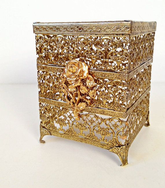 #vintage Hollywood #Regency #midcentury brass filigree tissue box holder  by forrestinavintage, $24.00
