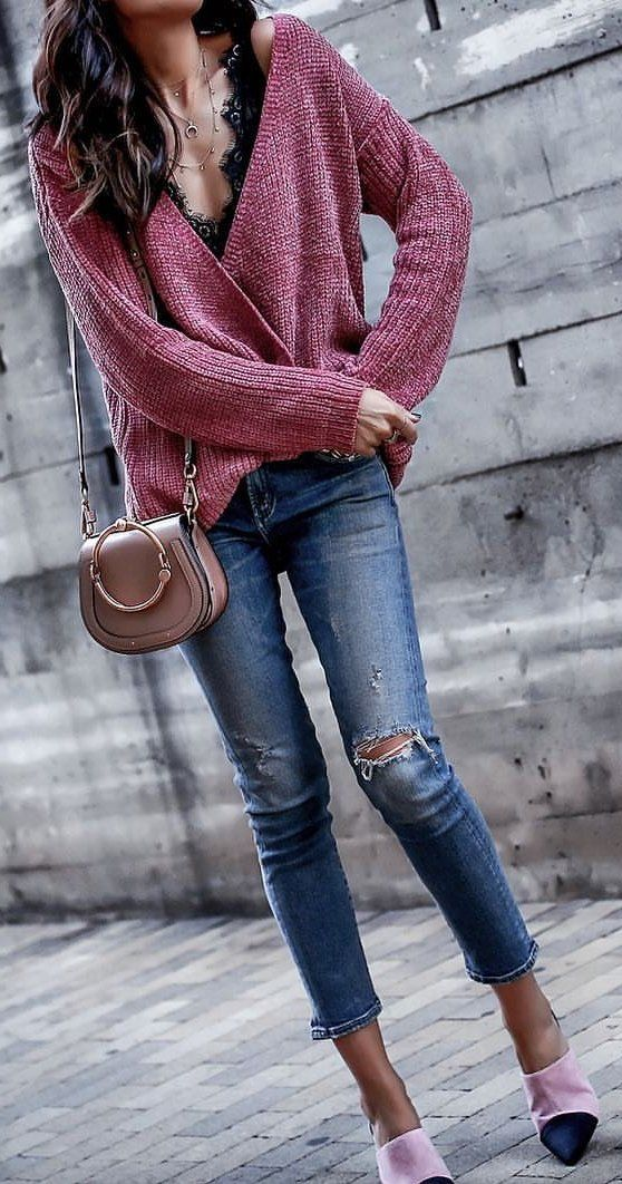 #winter #outfits red cardigan and blue jeans