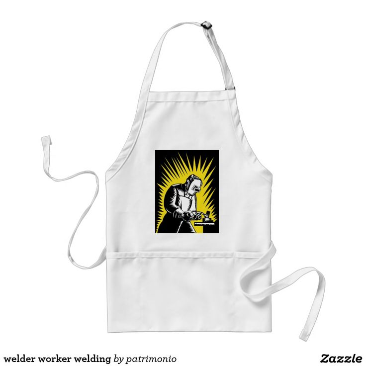 welder worker welding adult apron.Adult-sized apron with an illustration of a welder at work set inside a circle done in retro style. #welder #welding #apron