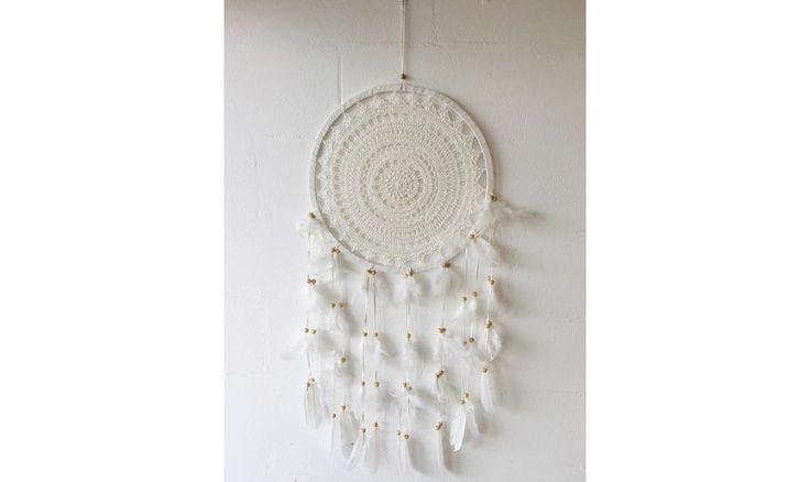Global Baby | Global Baby Cream Crochet Dream Catcher - Large, Baby's Room