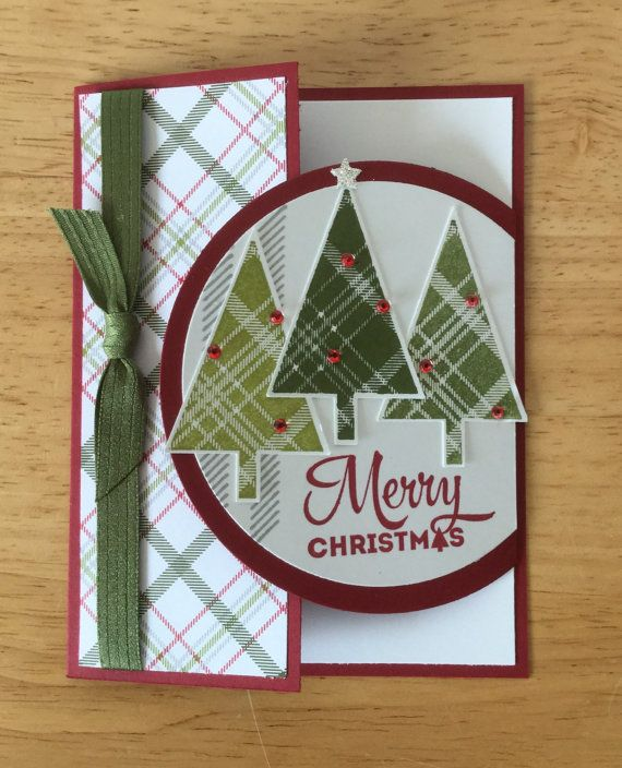 Stampin Up handmade Christmas card - special fold Christmas trees