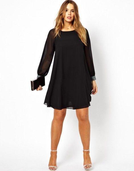 Vestido de fiesta con manga larga en color negro de Asos Curve: