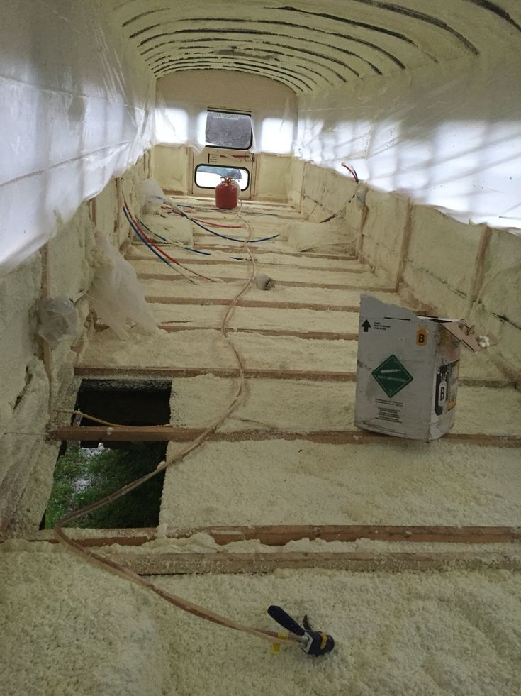 Closed cell spray foam insulation complete!  School Bus Tiny House Conversion  -Tristan Beache
