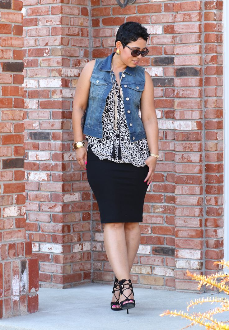 The Amazing Golden Tote - Mimi G Style - black skirt, sleeveless jean jacket, black and white blouse