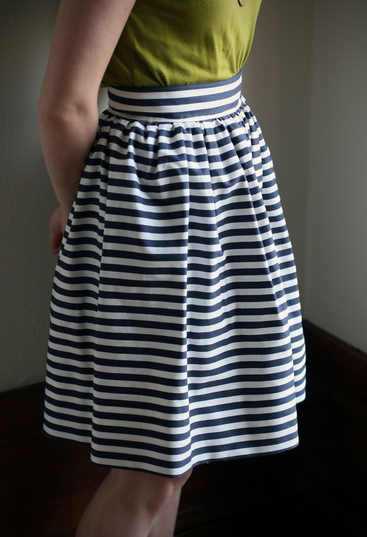 DIY High Waisted Striped Skirt - so cute and it's homemade!!