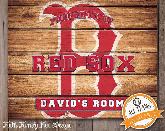 MLB Boston Red Sox Team Sign Printable Personalized Man Cave Teen Room