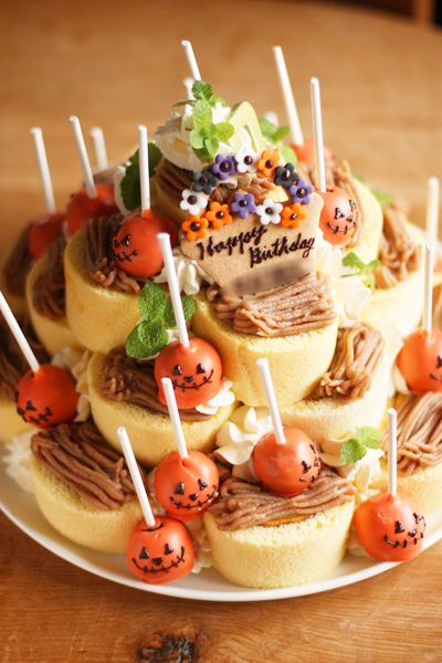 cut roll cake w/ pumpkin pop cakes