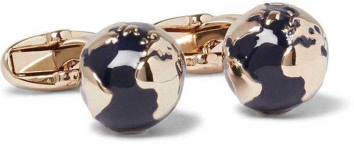Paul Smith Globe Gold-Tone Enamel Cufflinks
