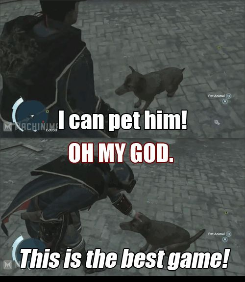 """Need No Other Reason to Get Assassin's Creed III --- When I first found out about this, I spent like 30 minutes petting the dog over and over again, then my brother was like """"Seriously!!"""" And I was heartbroken to leave the dog. Lol"""