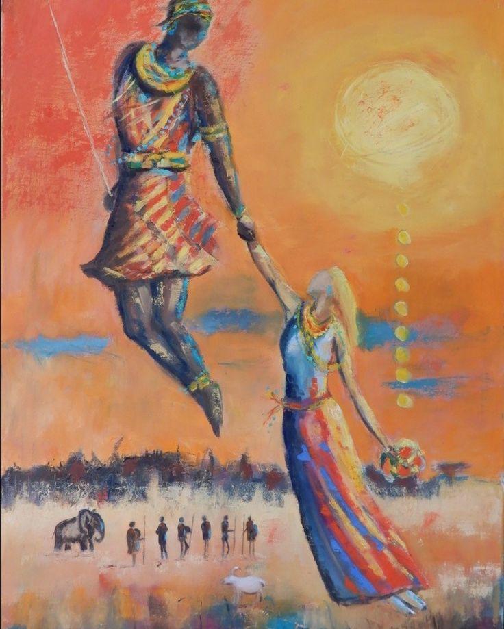 Adamu, Masai dance.  50x70, oil on canvas, 2017.  jusoik.com