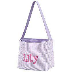Personalized Purple Seersucker Easter Bucket