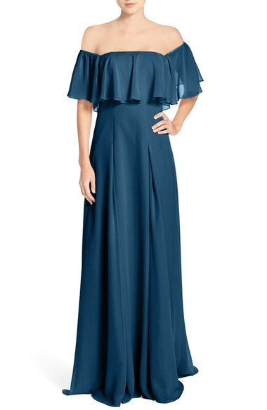 Monique Lhuillier Bridesmaids Off the Shoulder Chiffon Gown available at #Nordstrom