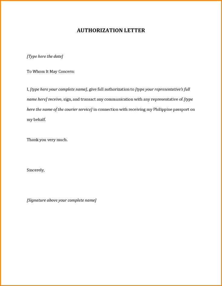 Sample Authorization Letter Template Word Bpi  Home Design Idea