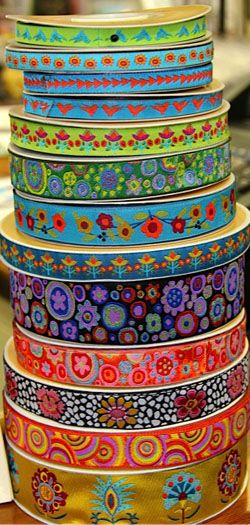Renaissance Ribbons, designed by Kaffe Fassett and Sue Spargo, seen at Roxannes (Carpinteria, CA)