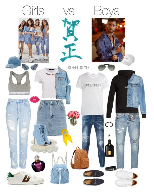 """Girls Vs Boys my creation"" by ririluv on Polyvore featuring Calvin Klein Underwear, Topshop, Gucci, Salvatore Ferragamo, Christian Dior, Hermès, Mudd, Dsquared2, Balmain and Marc Jacobs"