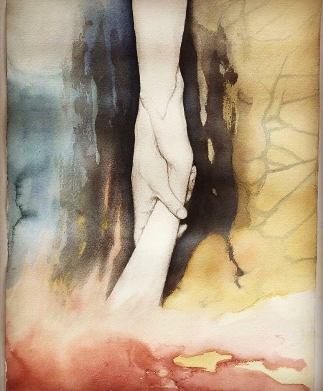 """""""Min Frälsare"""" Akvarell & Blyerts 38x56 cm"""