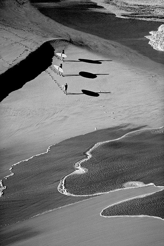 Aaron Chang '3 Surfers'. Black and white photography