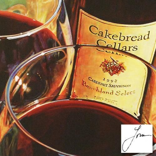 """CAKEBREAD CABERNET"" LIMITED EDITION LITHOGRAPH BY LONA NUMBERED HAND SIGNED COA. www.jewelsgemspriceless.com"