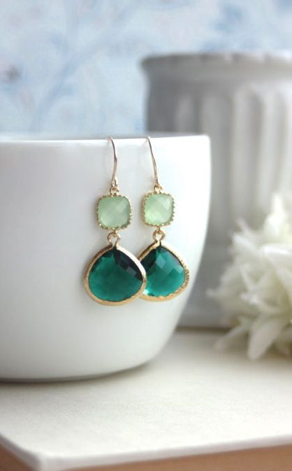 Emerald Green, Lime Green, Mint Green Glass Framed Drop, French Hook Earring. Emerald Green Wedding. Bridesmaids Gift. By Marolsha.