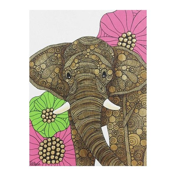 Novica Thai Acrylic Painting Of Elephant And Flowers 82 Liked On Polyvore Featuring Home