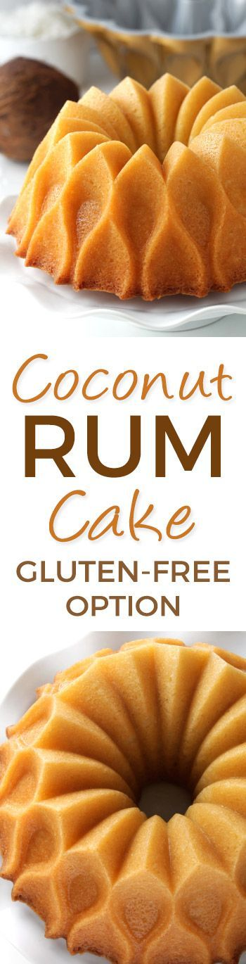 Easy Coconut Rum Cake drenched in coconut rum syrup - can be made with all-purpose, gluten-free or whole grain flours. With a dairy-free option (please click through to the recipe to see the dietary-friendly options). #nordicware70