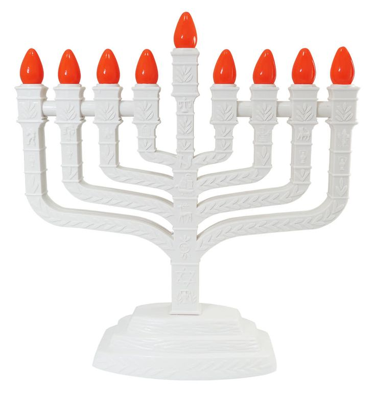 Electric Menorah For Hanukkah-White Plastic With Orange Bulbs